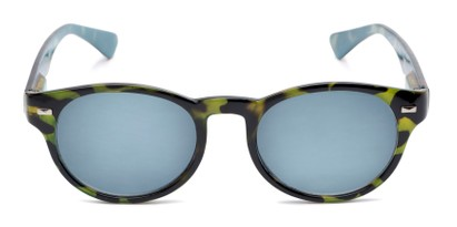 Front of The St. Paul Reading Sunglasses in Green Tortoise/Blue with Smoke