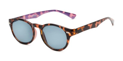 Angle of The St. Paul Reading Sunglasses in Tortoise/Purple with Smoke, Women's and Men's Round Reading Sunglasses