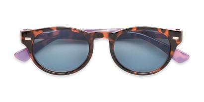 Folded of The St. Paul Reading Sunglasses in Tortoise/Purple with Smoke