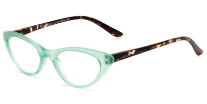 Angle of The Stella in Green/Tortoise, Women's Cat Eye Reading Glasses