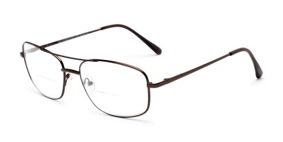 Angle of The Stenson Bifocal in Bronze, Men's Aviator Reading Glasses