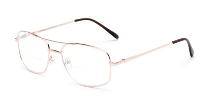 Angle of The Stenson Bifocal in Gold, Men's Aviator Reading Glasses
