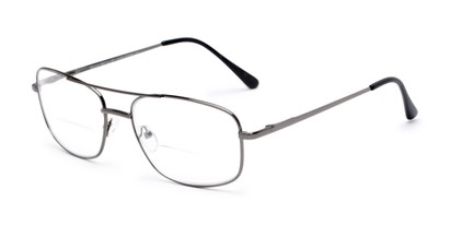 Angle of The Stenson Bifocal in Grey, Men's Aviator Reading Glasses