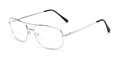 Angle of The Stenson Bifocal in Silver, Men's Aviator Reading Glasses