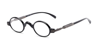 Angle of The Sterling in Black, Women's and Men's Round Reading Glasses