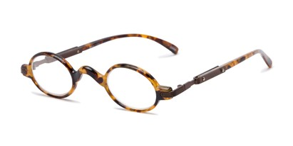 Angle of The Sterling in Light Tortoise/Bronze, Women's and Men's Round Reading Glasses