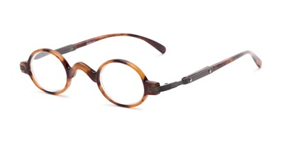 Angle of The Sterling in Light Tortoise/Grey, Women's and Men's Round Reading Glasses