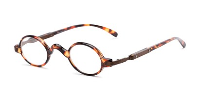 Angle of The Sterling in Tortoise/Bronze, Women's and Men's Round Reading Glasses