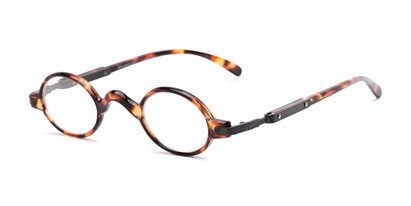Angle of The Sterling in Tortoise/Grey, Women's and Men's Round Reading Glasses
