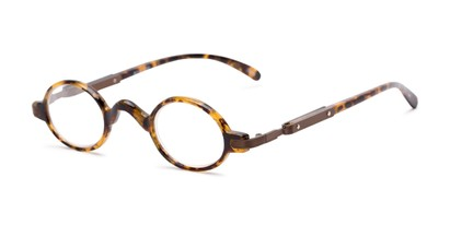 Angle of The Sterling in Yellow Tortoise/Bronze, Women's and Men's Round Reading Glasses