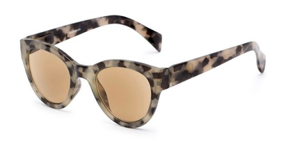 Angle of The Stevie Reading Sunglasses in Tan Tortoise with Amber, Women's Cat Eye Reading Sunglasses