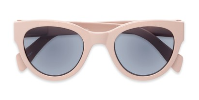 Folded of The Stevie Reading Sunglasses in Light Pink with Smoke