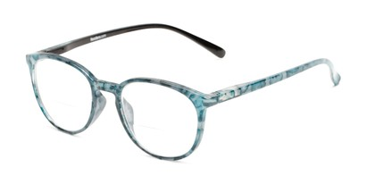 Angle of The Story Bifocal in Teal/Black, Women's Round Reading Glasses