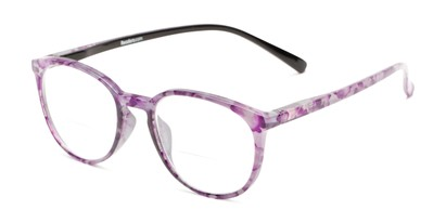 Angle of The Story Bifocal in Purple/Black, Women's Round Reading Glasses