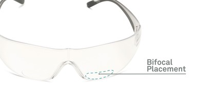 Detail of The Stratus Bifocal Safety Reader in Clear/Grey with Clear Lens