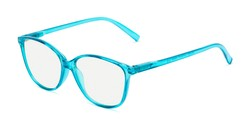 Angle of The Strawberry Computer Reader in Blue, Women's Cat Eye Reading Glasses