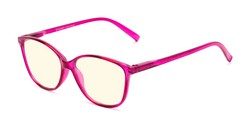 Angle of The Strawberry Computer Reader in Pink, Women's Cat Eye Reading Glasses