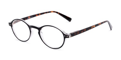 Angle of The Studio in Black and Tortoise, Women's and Men's Round Reading Glasses