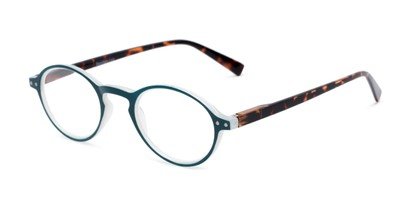 Angle of The Studio in Blue and Tortoise, Women's and Men's Round Reading Glasses