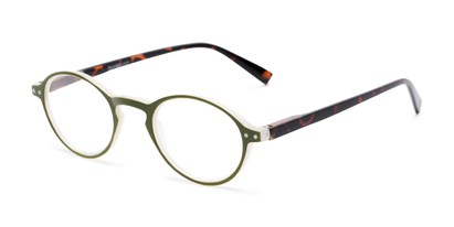 Angle of The Studio in Dark Green and Tortoise, Women's and Men's Round Reading Glasses