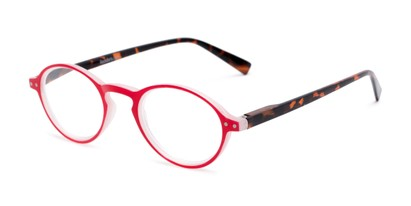 Angle of The Studio in Red and Tortoise, Women's and Men's Round Reading Glasses