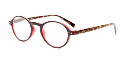 Angle of The Studio in Dark Red and Tortoise, Women's and Men's Round Reading Glasses