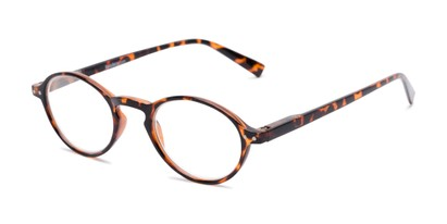 Angle of The Studio in Tortoise, Women's and Men's Round Reading Glasses