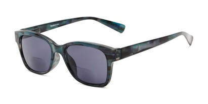 Angle of The Sutton Bifocal Reading Sunglasses in Dark Blue Tortoise with Smoke, Women's and Men's Retro Square Reading Sunglasses