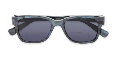 Folded of The Sutton Bifocal Reading Sunglasses in Dark Blue Tortoise with Smoke