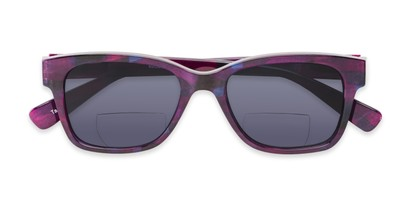 Folded of The Sutton Bifocal Reading Sunglasses in Dark Pink Tortoise with Smoke