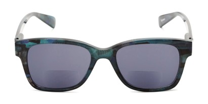 Front of The Sutton Bifocal Reading Sunglasses in Dark Blue Tortoise with Smoke