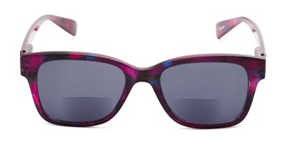 Front of The Sutton Bifocal Reading Sunglasses in Dark Pink Tortoise with Smoke