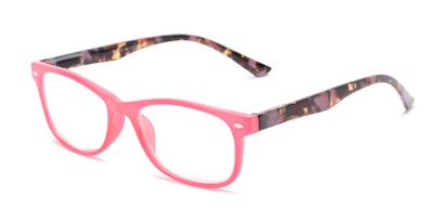 Angle of The Symphony in Pink/Tortoise, Women's and Men's Rectangle Reading Glasses
