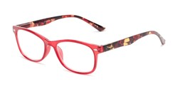 Angle of The Symphony in Red/Tortoise, Women's and Men's Rectangle Reading Glasses