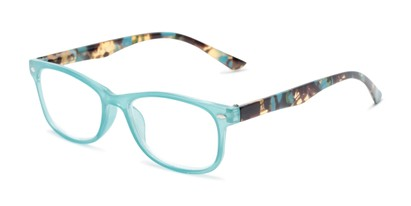 Angle of The Symphony in Teal Blue/Tortoise, Women's and Men's Rectangle Reading Glasses