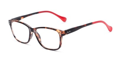 Angle of The Taft in Red Tortoise, Women's and Men's Rectangle Reading Glasses