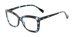 Angle of The Tatum in Blue Tortoise, Women's Cat Eye Reading Glasses