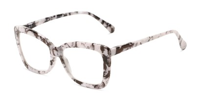 Angle of The Tatum in White Marble, Women's Cat Eye Reading Glasses