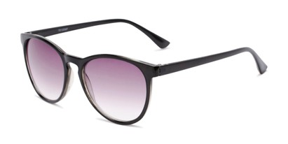 Angle of The Teagan Multifocal Reading Sunglasses in Black with Smoke, Women's Round Reading Sunglasses