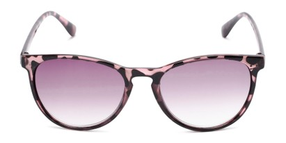 Front of The Teagan Multifocal Reading Sunglasses in Purple Tortoise with Smoke