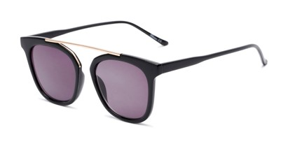 Angle of The Tenley Reading Sunglasses in Black with Smoke, Women's Square Reading Sunglasses