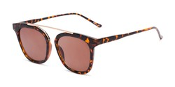 Angle of The Tenley Reading Sunglasses in Brown Tortoise with Amber, Women's Square Reading Sunglasses