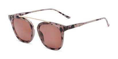 Angle of The Tenley Reading Sunglasses in Light Tortoise with Amber, Women's Square Reading Sunglasses