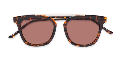 Folded of The Tenley Reading Sunglasses in Brown Tortoise with Amber