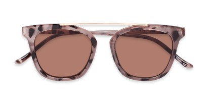 Folded of The Tenley Reading Sunglasses in Light Tortoise with Amber