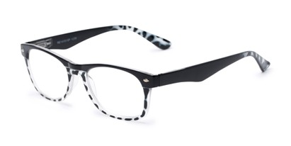 Angle of The Tilly in Black Tortoise, Women's and Men's Retro Square Reading Glasses