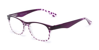 Angle of The Tilly in Purple Tortoise, Women's and Men's Retro Square Reading Glasses