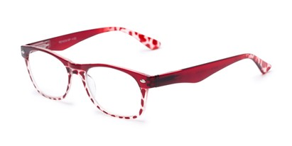 Angle of The Tilly in Red Tortoise, Women's and Men's Retro Square Reading Glasses