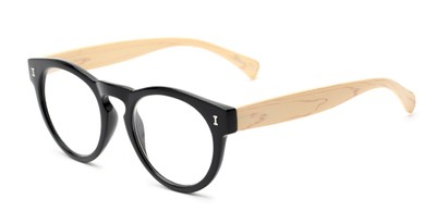 Angle of The Timber in Glossy Black/Wood, Women's and Men's Round Reading Glasses