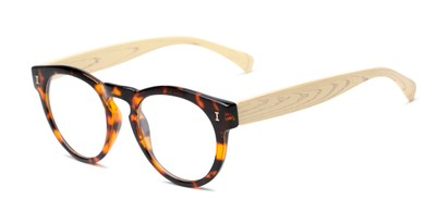 Angle of The Timber in Glossy Tortoise/Wood, Women's and Men's Round Reading Glasses